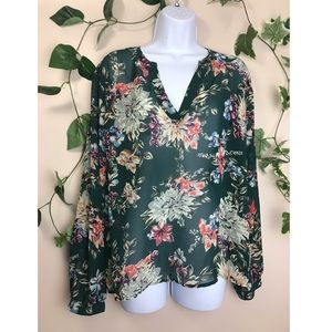 A new day Green XL Floral See through Blouse